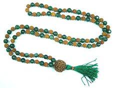 Yoga Gift Mala Green Jade Rudraksha Beads for Meditation Hindu Prayer Mala, Holy Necklace Mogul Interior http://www.amazon.com/dp/B00YX5XUH8/ref=cm_sw_r_pi_dp_CfzCvb03509PK