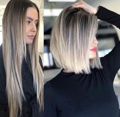 Before and after haircut styles for Just Trendy Girls: Long Hair Cut Short, Short Hair Styles, Taylor Swift Bleached Hair, Lob Haircut Straight, Before And After Haircut, Balayage Before And After, Hair Places, Dramatic Hair, Hair Transformation