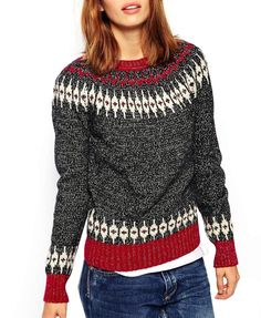 Wave Jacquard Weave Round Neck Pullover Sweater