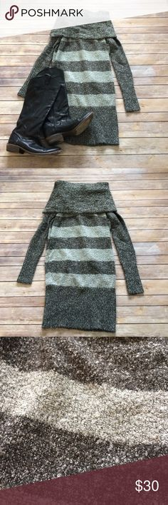 Kensie off the shoulder sweater dress Striped sweater dress in EUC. Can be worn off the shoulder or as a cowl neck. Looks so cute with tights and boots. Bundle and save! Kensie Dresses Long Sleeve