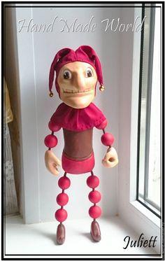 """Купить Интерьерная кукла """"Клоун Эот-Линг"""" - ярко-красный, красный, клоун, клоуны, шут"""