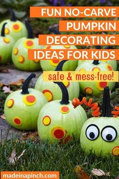 The BEST EASY no-carve pumpkin decorating ideas for kids! These quick and easy ways to decorate your pumpkins include stickers, painting, & poke-ins. Creative, fast, cute + safe! #halloween #halloweenpumpkins #pumpkinideas #nocarvepumpkins #pumpkins #halloweencrafts | Made in A Pinch @madeinapinch Fake Pumpkins, Painted Pumpkins, Halloween Pumpkins, Halloween Crafts, Halloween Decorations, Halloween Ideas, Happy Halloween, Pumpkin Carving Party, No Carve Pumpkin Decorating