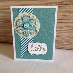 Stampin Up All Abloom + wire embossing folder+ Mixed Bunch stamp +white & gold heat embossing