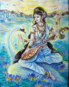 "ॐॐॐ on Instagram: ""Saraswati is the Goddess of leaming, knowledge, and wisdom. The Sanskrit word sara means ""essence"" and swa means ""self."" Thus Saraswati…"" Shiva Art, Krishna Art, Hindu Art, Saraswati Goddess, Goddess Art, Durga, Saraswati Mata, Saraswati Painting, Lord Shiva Painting"