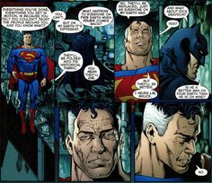 Bruce's mind goes straight to the happiest, best person on Earth-1: Dick effing Grayson, that's right. The best thing Bruce has ever done with his life, a ray of sunshine. And because Kal-L can't lie… he gets Kryptonite to the face. Because Bruce loves his son; his son is the best thing on the planet and not even Superman is going to take that away from him. Dick, baby, you are literally too precious for this world. (Infinite Crisis #3)