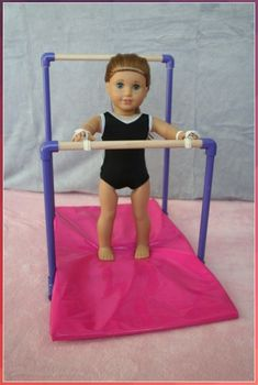 American Girl Dolls : Image : Description Arts and Crafts for your American Girl Doll: Uneven Bars for American Girl doll American Girl Outfits, American Clothing, Cosas American Girl, American Girl Diy, American Girl Dolls, American Girl Storage, Ag Doll Crafts, Diy Doll, Diy Crafts
