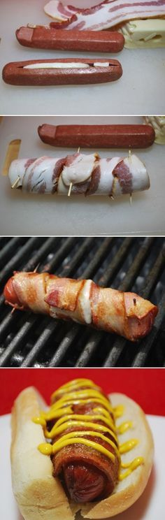 Bacon Wrapped Cheese Hot Dogs - The ULTIMATE Raceday Hot Dog. I bet well see a few of these at Texas Motor Speedway soon!  #NASCAR #WildAsphaltCircus