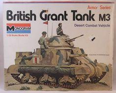 Monogram British Grant Desert Combat Tank 1973 Release Built Painted for sale online