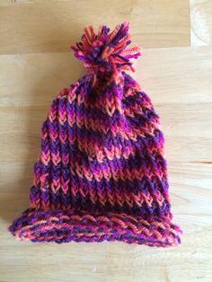 Kids Pom Pom hat Ready to Ship Peach Pink Purple hat winter hat beanie hat (16.00 USD) by CrochetKnitandMix