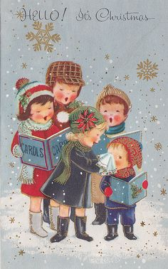 Christmas Carolers Vintage Greeting Card