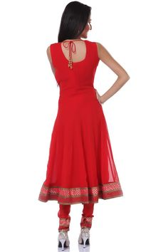 Red georgette anarkali with deep scoop neck