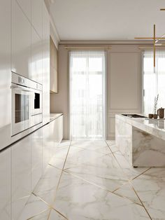 + kitchen design ideas for your 2019 home renovation The kitchen should be the heart of every home. That's why we have gathered the most beautiful modern kitchen design ideas for your 2019 home renovation. Stylish Kitchen, Modern Kitchen Design, Interior Design Kitchen, 3d Interior Design, Elegant Kitchens, Modern Kitchens, Interior Modern, Marble Interior, Gold Interior