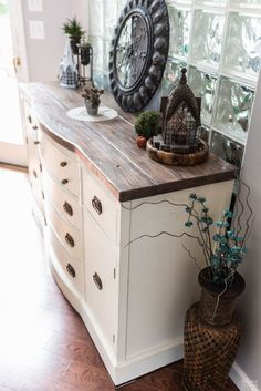 Vintage Buffet Makeover & How to Paint a Buffet Table The Navage Patch Table Makeover Buffet Makeover Navage Paint Patch Table Vintage Dresser To Buffet, Kitchen Buffet Cabinet, Refinished Buffet, Refurbished Table, Painted Buffet, White Buffet Cabinet, Vintage Buffet, Rustic Buffet, Farmhouse Buffet