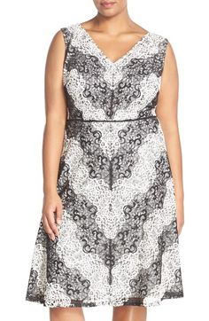 Adrianna Papell Chevron Lace Fit & Flare Dress (Plus Size) available at Nordstrom