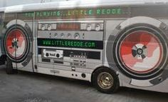 A bus turned into a boombox with vinyl wrapping. www.SpeedproSilverSpring.com