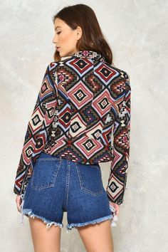 Shoot Me a Textile Tapestry Moto Jacket