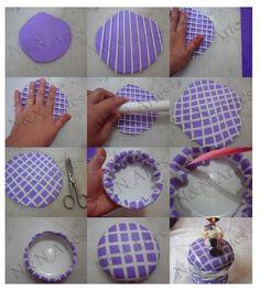 Lines/grids Cute Polymer Clay, Polymer Clay Canes, Fimo Clay, Polymer Clay Projects, Polymer Clay Jewelry, Jar Crafts, Diy And Crafts, Clay Jar, Clay Flowers