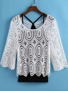 White Hollow Floral Crochet Blouse With Cami Top