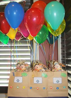 Cut outs of house on bags with balloons for centerpieces? 1 Year Old Birthday Party, Boys 1st Birthday Party Ideas, Second Birthday Ideas, Disney Birthday, 6th Birthday Parties, 1st Boy Birthday, 1st Birthdays, Birthday Party Decorations, Up Theme
