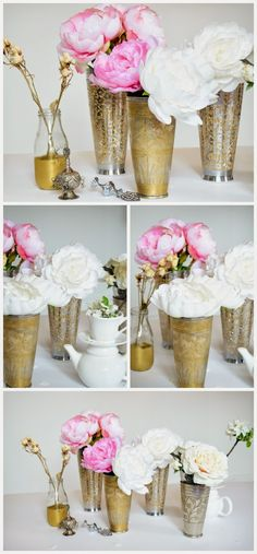 HOME DECOR IDEAS: PEONIES AND ROSES IN VINTAGE LASSI CUPS USED AS VASES