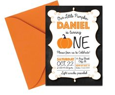 Chalkboard Pumpkin Invite. Click through to find matching games, favors, thank you cards, inserts, decor, and more. Or shop our 1000+ designs for all of life's journeys. Weddings, birthdays, new babies, anniversaries, and more. Only at Aesthetic Journeys