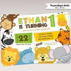 Safari Jungle Animals Birthday Party printable invitation #434 by PNArt on Etsy https://www.etsy.com/listing/265553594/safari-jungle-animals-birthday-party