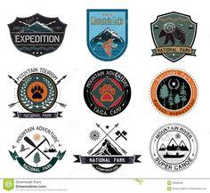 Set of vintage woods camp badges and travel logo and design elements.