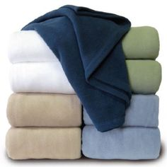 Crafted with non-pilling microfibers. Durable and lightweight for all-season comfort. Made of 100% Polyester; machine wash and dry. Available colors: White, Cream, Linen, Navy, Peruwinkle, and Sage. Sizes: Twin, Full/Queen, and King. #inn #BandB #hotel #polyester #blanket