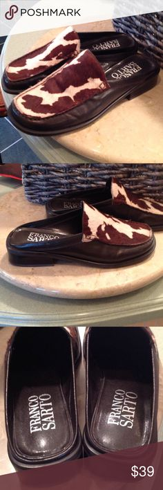 EUC Franco Sarto leather loafers These have been worn but can only tell by a few marks on bottom. Very comfortable and stylish. They are a dark chocolate brown with dark brown and cream cow hair leather on top. So cute!! No flaws at all!! Franco Sarto Shoes Flats & Loafers