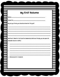 my first resume  i might try this  kids can apply for jobs in the    my first resume