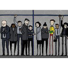Pedro Demetriou ~ Happiness On the Underground ~ Linocut Illustration, digital edit / color