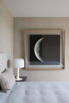 Decor Inspiration: Hang the moon — The Decorista. Room photo by Jean Louis Deniot. Home Bedroom, Bedroom Decor, Bedrooms, Bedroom Artwork, Framed Artwork, Wall Art, Home And Deco, My New Room, Interiores Design