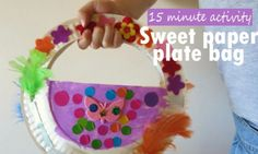 A fun activity for little girls (and boys too!), make a paper plate bag with odds and ends. Paper plate bag craft is quick to put together. Easter Crafts For Kids, Craft Activities For Kids, Toddler Crafts, Preschool Crafts, Kid Crafts, Craft Ideas, Easter Art, Preschool Activities, Paper Plate Crafts