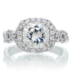 Moissanite forever brilliant 7.5mm cushion cut diamond halo engagement ring