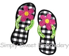 Flip Flop Machine Embroidery Applique by SimplySweetEmbroider, $4.00