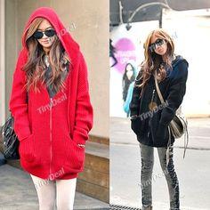 Trendy Cardigan Knitwear Hoodie Hoody Woolen Sweater w Pockets   Long Sleeves for Girl Woman NDD-53218