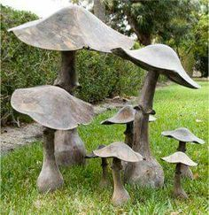 Who thought a mushroom could be so charming or elegant or sophisticated. The large one stands alone as a piece of art tucked into large group of tall green shrubbery. Authentic Provence or Lars Bolander, Dixie Highway, West Palm Beach, FL Cement Garden, Cement Art, Metal Garden Art, Concrete Art, Garden Rake, Concrete Sculpture, Garden Tub, Garden Paths, Garden Crafts