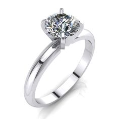Marriage Diamond Ring 1 Carat Solitaire F VS Enhanced Round Cut 14K White Gold #MyDiamonds #SolitaireRing