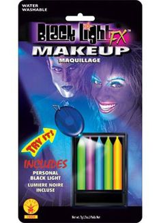 Add some colouful glow to your next Halloween costume with these great Black Light 5 Colour Make Up Liner Set. These makeup sticks will add a glowing look to any costume! Includes 5 neon/black light makeup sticks in fuchsia, blue, yellow, green and o Black Light Makeup, Dark Makeup, Zombie Walk, Fx Makeup, Makeup Set, Verona, Electric Run, Blacklight Party, Horror