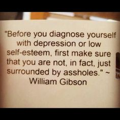 Before you diagnose yourself with depression or low self-esteem, first make sure that you are not, in fact, just surrounded by assholes.  -William Gibson