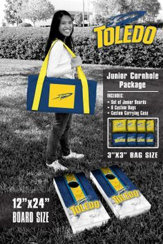 Our University of Toledo Rockets Junior 12x24 Cornhole Game Package. Get your custom set at victorytailgate.com