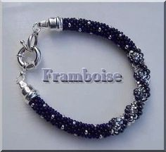 Black and silver Kumihimo spiral bracelet.