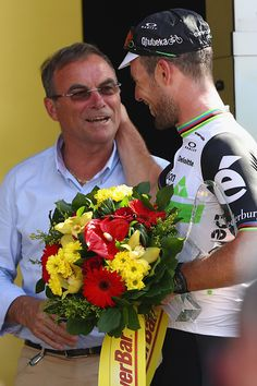 #TDF2016 Mark Cavendish of Great Britain and Team Dimension Data alongside five times Tour winner Bernard Hinault after his stage victory after the 1905km...