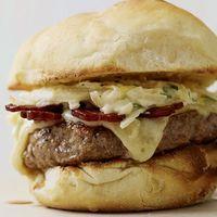 Jerk Pork Cheeseburgers with Green Apple Slaw   http://www.rachaelraymag.com/Recipes/rachael-ray-magazine-recipe-search/rachael-ray-burger-recipes/jerk-pork-cheeseburgers-with-green-apple-slaw