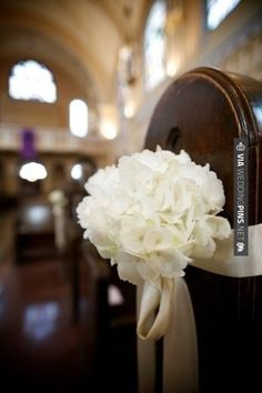 Love this - Simple and pretty. White Hyrdrangea Pew Bouquet - LOVE | CHECK OUT MORE IDEAS AT WEDDINGPINS.NET | #weddings #weddingplanning #coolideas #events #forweddings #weddingplaces #romance #beauty #planners #weddingdestinations #travel #romanticplaces #eventplanners #weddingdress #weddingcake #brides #grooms #weddinginvitations
