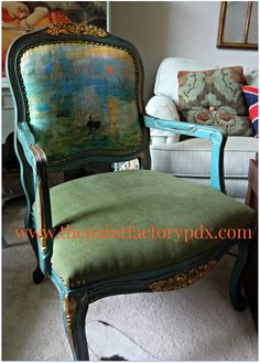 A custom mix of Napoleonic Blue, Antibes Green and English Yellow help transform this lovely chair with gold highlights   By Diane of The Paint Factory https://www.facebook.com/photo.php?fbid=10152749585740519&set=o.268367163230581&type=1&theater
