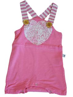 Paisley heart bamboo baby overalls with contrast stripe straps and engraved wooden buttons. Bamboo Baby SS15