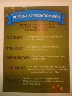 Activity Director Craft & Event Ideas: Resident Appreciation Week (September 15-19, 2015)...