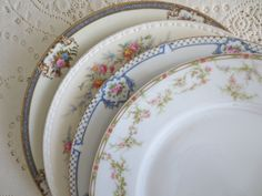 Set of 4 Mismatched Dinner Plates. Floral China Plates. Mix Match Plates. Shabby Chic Dishes. Dinnerware, Alice in Wonderland, Tea Party by DorothyAndCleo on Etsy https://www.etsy.com/listing/221562509/set-of-4-mismatched-dinner-plates-floral