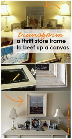 foyer canvas thrift store frame makeover before and after - Home Decor -DIY - IKEA- Before After Wooden Picture Frames, Wooden Frames, Makeover Before And After, Home Decor Bedding, Old Frames, Diy Canvas Art, Boho Decor, Diy Art, Thrifting